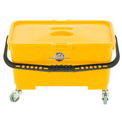 Monarch Yellow Flatmop Bucket w/Sieve Lid & Castors