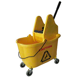 Microfiber & More Yellow Mop Bucket w/Down Press Wringer