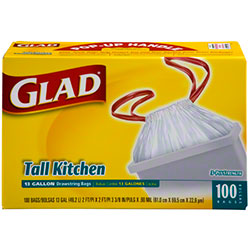 Glad® CloroxPro™ 13 Gal. Tall Kitchen Drawstring Bag - 100 ct. Box