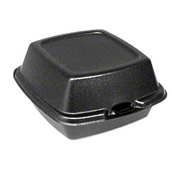 "Dart® Foam Hinged Lid Cont. -6"" Large Sandwich, Black"