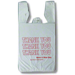 "Inteplast HDPE ""Thank You"" Bag, White"
