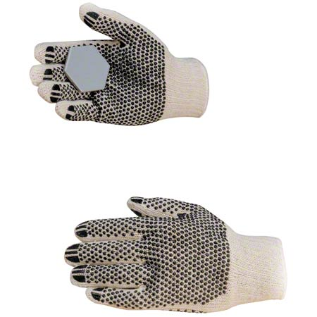 LARGE COTTON / POLYESTER DOUBLE SIDED PVC DOT GLOVE