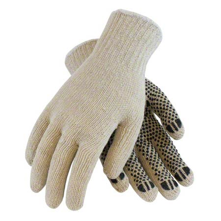 LARGE COTTON/POLYESTER SINGLE SIDE PVC DOT GLOVE