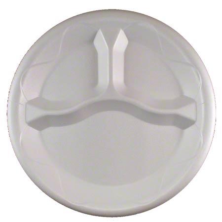 "Darnel Round Foam Plate - 8 7/8"" x 7/8"", 3 Cmpt., White"