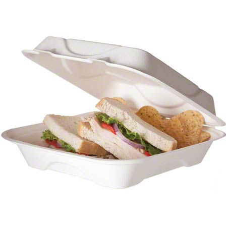 "Eco-Products® Sugarcane Clamshell - 8"" x 8"" x 3"""