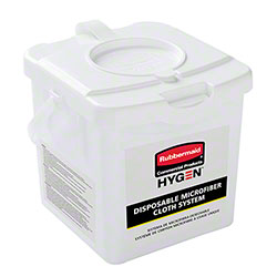 "Rubbermaid® Hygen™ Disposable Microfiber Cloth Charging Tub - 12"" x 12"", White"