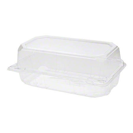 "Karat® PET Hinged Container - 9"" x 5"", Clear"