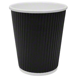 Karat® Black Ripple Paper Hot Cups