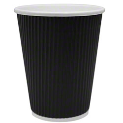 Karat® Black Ripple Paper Hot Cup - 12 oz.