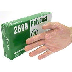 AmerCare® Polycast Clear PF Cast Poly Glove - Large