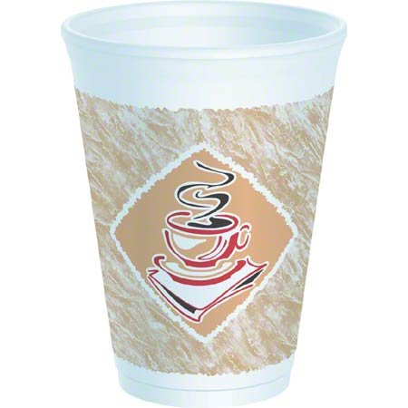 Dart® Café G™ Thermo-Glaze Foam Cup - 12 oz., Red