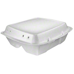 Dart® Foam Hinged Lid Cont. - 1 Cmpt w/Removable Lid,White