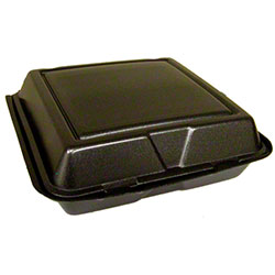 Dart® Foam Hinged Lid Cont. - 1 Cmpt w/Removable Lid,Black