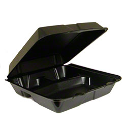 Dart® Foam Hinged Lid Cont. - 3 Cmpt w/Removable Lid,Black