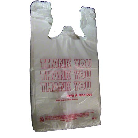 "Inteplast HDPE T-Shirt ""Thank You"" Bag - 1/6 BBL, White"