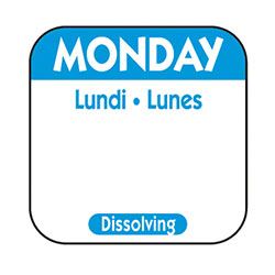 "NCCO 1"" x 1"" Trilingual Dissolving Label - Monday, Blue"