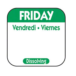 "NCCO 1"" x 1"" Trilingual Dissolving Label - Friday, Green"
