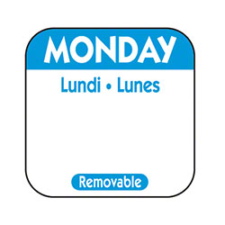 "NCCO 1"" x 1"" Trilingual Removable Label Box - Monday, Blue"