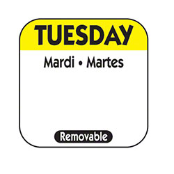 "NCCO 1"" x 1"" Trilingual Removable Label Box - Tuesday, Yellow"