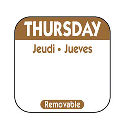 "NCCO 1"" x 1"" Trilingual Removable Label Box - Thursday, Brown"