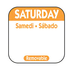 "NCCO 1"" x 1"" Trilingual Removable Label Box -Saturday, Orange"
