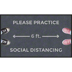 "M + A Matting ColorStar® ""Please Practice Social Distancing 6'"" Mat - 3' x 5'"