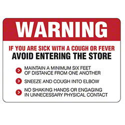 Warning Decal Avoid Entering If Sick With Cough or Fever Sign