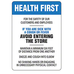 Warning Decal Health First Sign