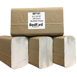 "Bedford Multifold White Towel - 9.5"" x 9.25"""