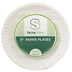 Spring Grove White Fluted Paper Plate - 9""