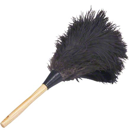 """Lambskin Feather Duster Premium Black Ostrich - 13"""" Overall"""