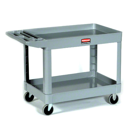 "Rubbermaid® 2 Shelf Cart w/5"" Casters - 45 1/4"" L, Gray"