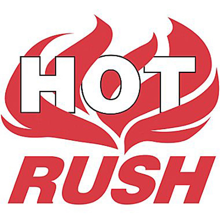 """Hot Rush"" Flames Labels"