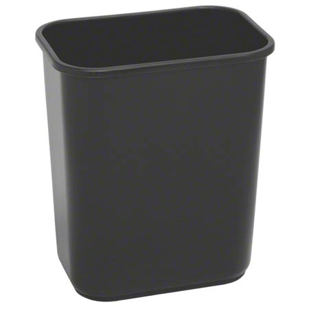 Continental Commercial Plastic Wastebasket -28 1/8 Qt,Black