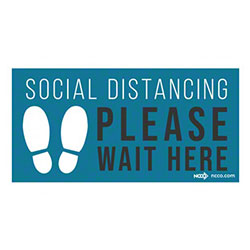"NCCO Safe Distance ""Social Distancing Please Wait Here"" Floor Mat - 6' x 12"""
