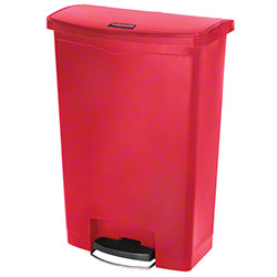 Rubbermaid® Slim Jim® Step-On Resin Front - 24 Gal., Red