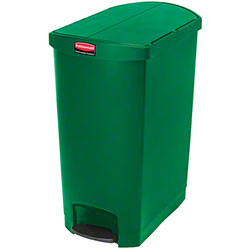 Rubbermaid® Slim Jim® Step-On Resin End - 24 Gal., Green