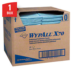 "WypAll® X70 Extended Use Foodservice Towel - 12.3"" x 23.3"", Blue"