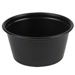 PrimeWare® Plastic Portion Cup - 2.5 oz., Black