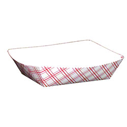 Empress™ Red Plaid Food Tray - 6 oz.