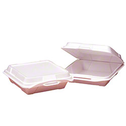Genpak® Large 1 Compartment Hinged Container - White