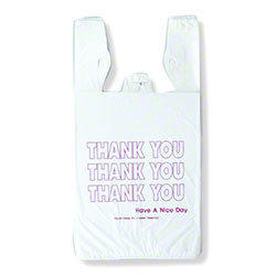 "Inteplast HDPE ""Thank You"" T-Shirt Bag - 1/6 BBL, White"