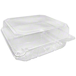 "Karat® PET Hinged Container - 8"" x 8"""