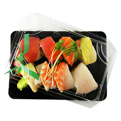 "World Centric Compostable Sushi Tray & Lid - 7"" x 5"" x 2"""