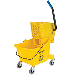 Carlisle Yellow 30 Qt. Mop Bucket with Side Press Wringer