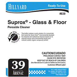 Hillyard #39 Arsenal® Suprox® Glass Floor Cleaner Label