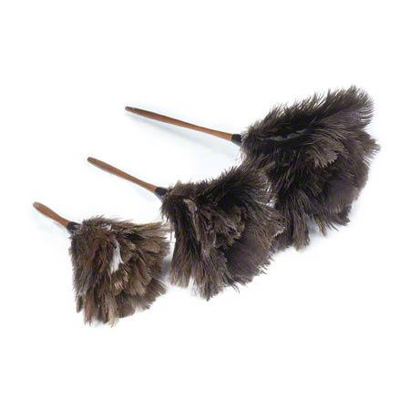 "Lambskin Feather Duster Premium Black Ostrich - 13"" Overall"