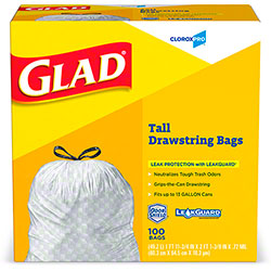 Glad® CloroxPro™ White 13 Gal. Tall Kitchen Drawstring Bag - 100 ct. Box