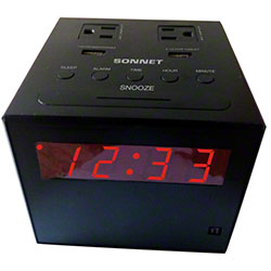 Sonnet Charging Station Clock Radio w/2 USB & 2 Plugs