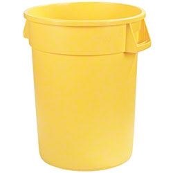 Carlisle Bronco™ Round Waste Container-32 Gal.,Yellow